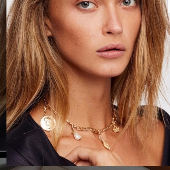 Free People Mix n Match Gold Charm Necklace